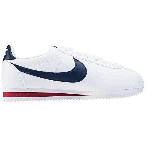 Nike Classic Cortez Leather, Chaussures de Running Entrainement Homme, Blanc, 45 EU Blanc / Bleu / Rouge (White / Midnight Navy-Gym Red)