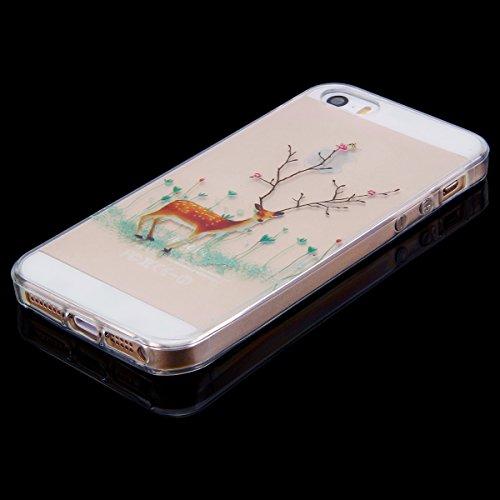 Custodia Cover iPhone 5/5S/SE Silicone Morbida,Ukayfe HD Trasparente Cristallo di Lusso di Crystal Colorato Pittura Disegno per iPhone 5/5S/SE Clear Flexible TPU Gel Ultra Sottile Copertura Case Prote Filiali di Alci