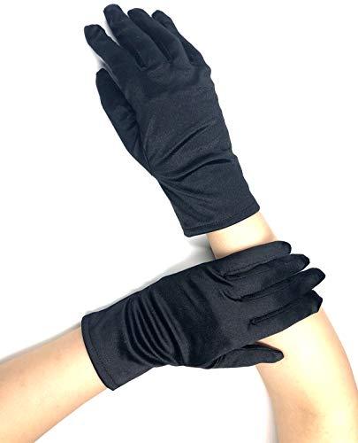 PANAX Edle kurze Damen Handschuhe aus elastischem Satin in Schwarz - Gloves in Einheitsgröße für Frauen, Hochzeiten, Oper, Veranstaltungen, Fasching, Karneval, Tanzen, ()