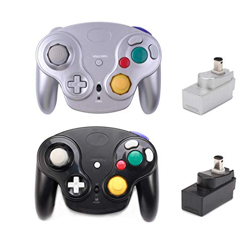 Poulep Classic 2,4 G Wireless Controller Gamepad mit Receiver Adapter für Wii U Gamecube NGC GC Black and Silver2 - Wii Controller Adapter Classic
