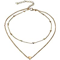 Yssabout Collana girocollo multi-filo da donna con pendente a cuore, metallo, Silver, As description