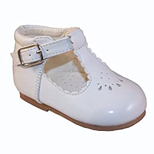 Infant size3, White Infant Girls Spanish Style Christening Wedding Party Walkiing Shoes