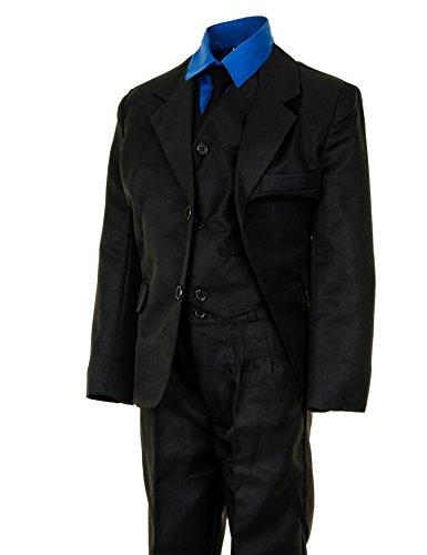 6tlg. Kinder Fest Anzug Kommunionsanzug Smoking extra Hemd in vielen Farben M289hbl Hemd Blau Gr. 8/116/122
