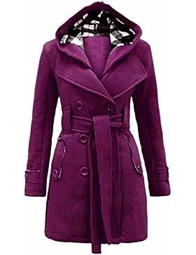 Coversolate Mujer Calentar Invierno Sección larga Abrigo Encapuchado Cinturón Doble Botonadura Chaqueta
