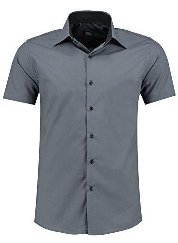 Jeel Herren-Hemd – Slim-Fit – Bügelleicht – Business, Hochzeit, Freizeit – Kurzarm-Hemd für Männer 105 Anthrazit M