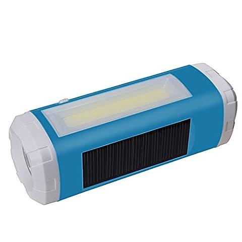 Lugii Cube Haut-parleur sans fil Player support radio FM carte TF extérieur solaire portable et USB Alimenté lampe de poche LED veilleuses, bleu