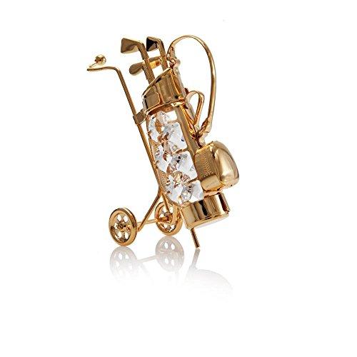 24K Gold Plated Crystal Studded Golf Bag Ornament with Clubs by Matashi (Bag Travel Studded)