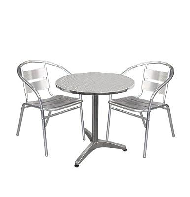Aluminium Bistro-Set Balkonmöbel Stapelstuhl - 3tlg