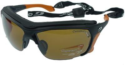 Gafas de sol Julbo Trek, Matt Negro / Naranja, Cameleon anti-niebla lentes fotocromáticos polarizadas. Self extremos del templo ajustable y bloqueador sudor desmontable