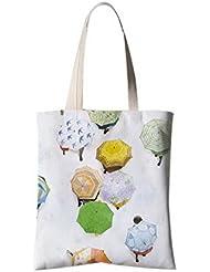 Fleurs de style japonais Illustrator Sac à bandoulière Sac à provisions Homme tenant le parapluie
