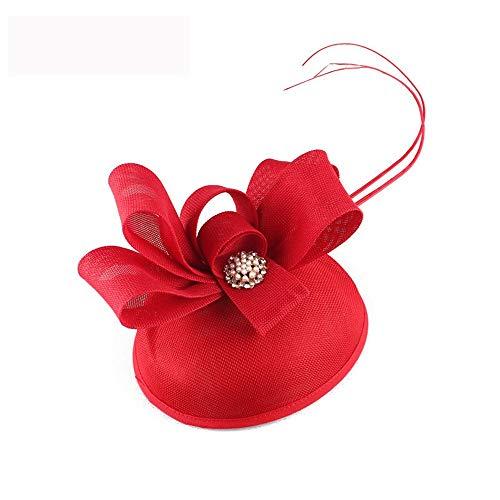 SweetStyle Marineblau Blumen süße Cocktail Jockey Club Haarschmuck Tanz Leistung Hut,rot