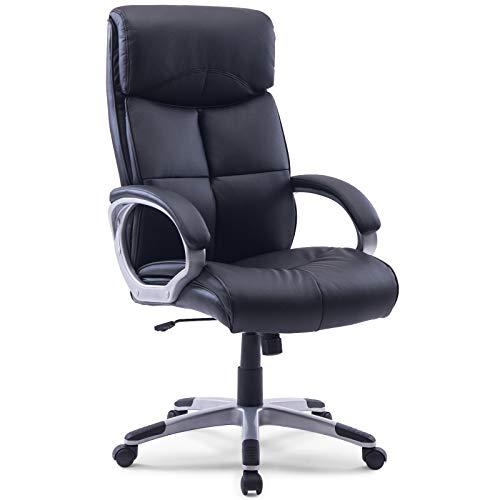 MIDORI XXL Chefsessel Bürostuhl Bürodrehstuhl Schreibtischstuhl Drehstuhl aus schwarzem Kunstleder | Bis zu 210 kg belastbar