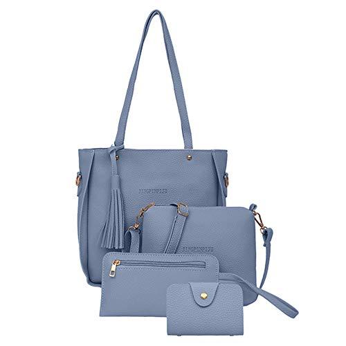 4 Teile/Satz Frauen Tasche Set Top-Griff hohe Kapazität Weibliche Handtasche Umhängetasche Geldbörse Damen Pu-Leder Umhängetasche Kupplung Brieftasche Blau 26 * 25 * 8