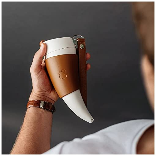 Goat Story special horn-shaped Insulated Coffee Mug with holder and straps, Brown Real Leather 350 ml