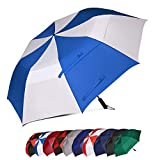 Eono by Amazon - Paraguas de golf XL resistente al viento con doble tela y sistema de apertura automático, 157,4 cm (blanco y azul real)