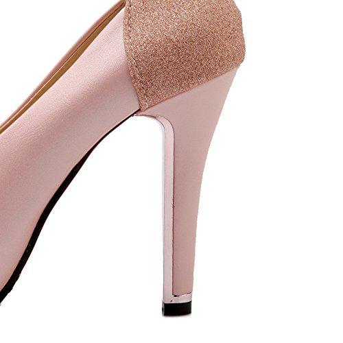AgooLar Femme Rond Tire Couleur Unie à Talon Haut Chaussures Légeres Rose