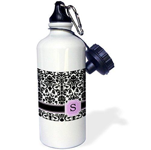 Persönlichen Monogramm Buchstabe S rosa schwarz und weiß Damast Muster Girly Stilvolle Personalisierte Brief Sport Wasser Flasche Edelstahl-Flasche für Frauen Herren Kinder 400ml