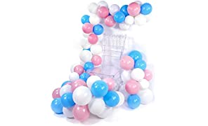 PuTwo Pink and Blue Balloons 100 pcs 10 Inch Baby Blue Balloons Baby Pink Balloons Matte White Balloons Gender Reveal Party Decorations for He or She Party, Boy or Girl Party, Pink Baby Shower