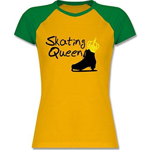Shirtracer Wintersport - Skating Queen - Zweifarbiges Baseballshirt/Raglan T-Shirt für Damen Gelb/Grün
