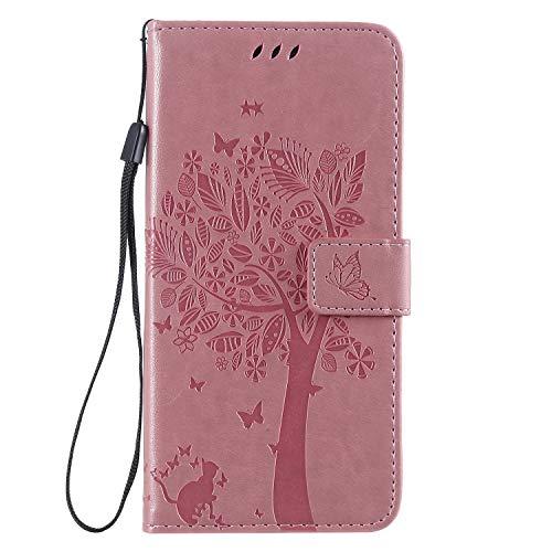 Miagon für Samsung Galaxy J4 Plus 2018 Geldbörse Wallet Case,PU Leder Baum Katze Schmetterling Flip Cover Klapphülle Tasche Schutzhülle mit Magnet Handschlaufe Strap