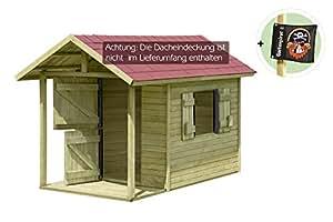 Spielhaus Louis Gartenhaus aus Holz mit Fußboden für Kinder mit Terrasse