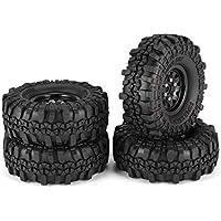 4 Unids 1.9 Pulgadas 110mm Neumáticos de Goma Neumático con Juego de Llantas de Rueda de Metal para 1/10 Traxxas TRX4 SCX10 RC4 D90 RC Crawler Car Parte