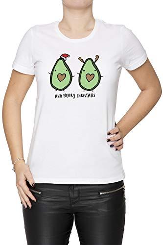 Erido Aguacate- Alegre Navidad Mujer Camiseta Cuello Redondo Blanco Manga Corta Tamaño M Women's White T-Shirt Medium Size M