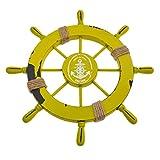 YNuth Barca Di Legno Nave Sterzo Massello in Stile Mediterraneo in Legno Pesca Ruota Sterzo Timone Ruota Decorazione per Parete