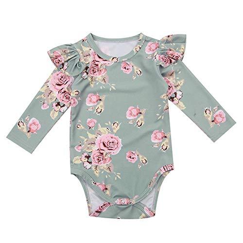 Wang-RX Nettes neugeborenes Baby-Blumenspielanzug-Rüschen-Overall-Ausstattungs-Kleidung