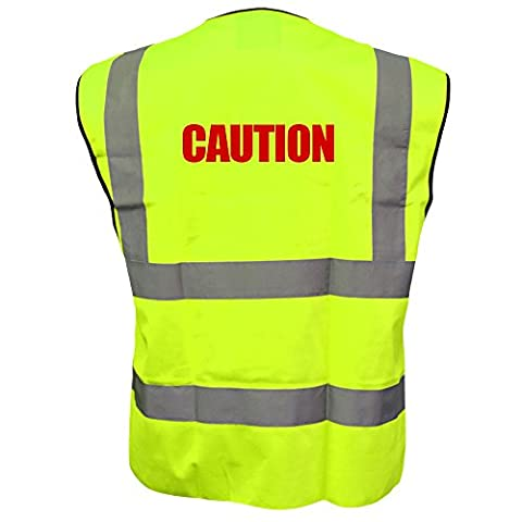 Printed Caution High Visibility Hi Vis Viz Vest Safety Waistcoat Yellow L