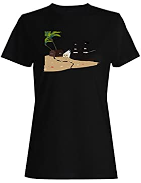 Nuevo Fondo Pirata Isla camiseta de las mujeres h237f