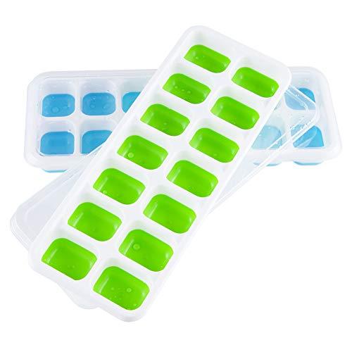 Sukuos 2 Stück Eiswürfelform Silikon Eiswürfelformen mit Deckel Eiswürfelbehälter, BPA Frei, FDA Zertifiziert (1*Blau und 1*Grün)