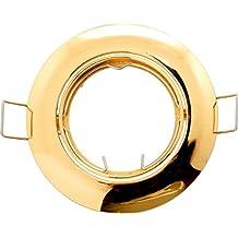 Marco empotrable para focos LED y halógenos (Oro redondo imitación, GU10, también apropiado para MR16(GU5,3)