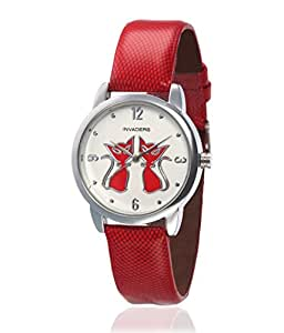 Invaders cat sisters Red Analog leather Wrist Watch for Women