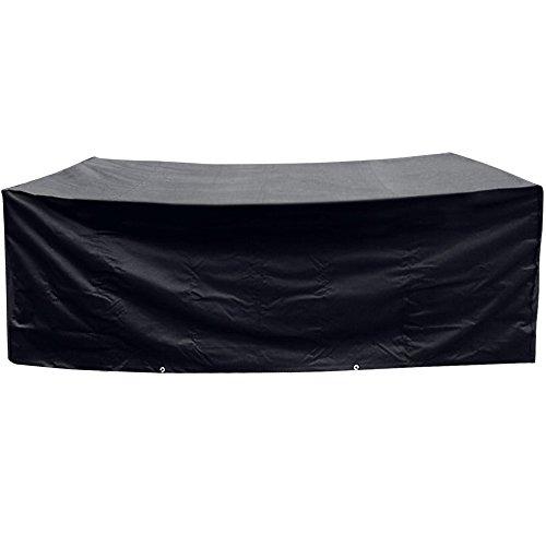 Anpro Möbel Schutzhülle 200x160x70cm Polyester Möbel Abdeckhaube mit 2 Polyesterseile für Gartenmöbel Tisch Stühle, Schwarz