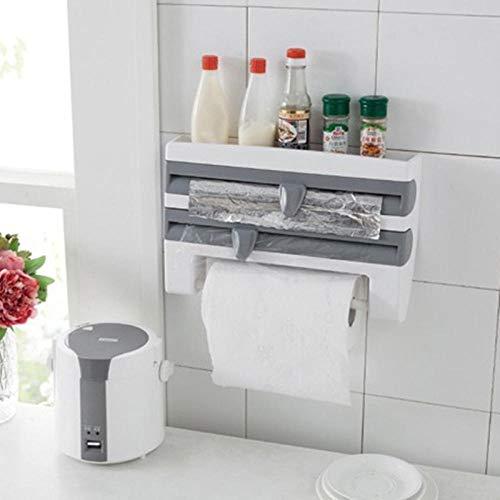 Nueva cocina de moda Cortador de película de aluminio Soporte de toalla de papel Dispensador de rollo montado en la pared Rollo de pared Especia de papel de cocina