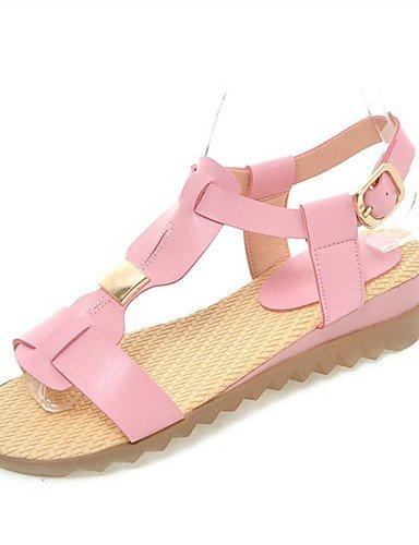 LFNLYX Scarpe Donna-Sandali-Tempo libero / Formale / Casual-Comoda-Piatto-Finta pelle-Nero / Rosa / Bianco / Beige Pink