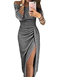 f09aba99ecc044 ZJCTUO Damen Kleid Abendkleid Schulterfreies Cocktailkleid Jerseykleid  Skaterkleid Hochzeit Elegant Festlich Partykleid glänzend…