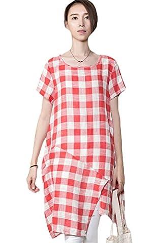 Voguees Women's Summer Plaid Irregular Dress Robe Red L