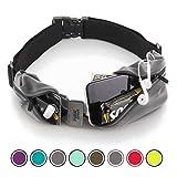 Cintura da Corsa - iPhone X 6 7 8 Plus Sacchetto per corridori. Riflettente Marsupio Porta Telefono. Corsa Accessori per Uomini, Donne (Grigio Nero)