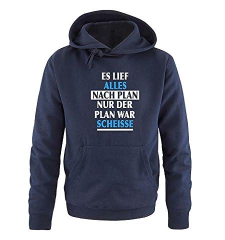 Comedy Shirts - Es lief alles nach Plan nur der Plan war scheisse. - Herren Hoodie - Navy / Weiss-Blau Gr. (Beste Tv-preise Nach Weihnachten)