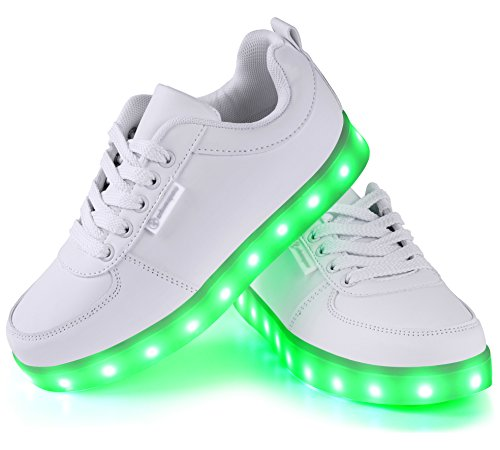 #Angin-Tech LED Schuhe 7 Farbe USB Aufladen LED Leuchtend Sport Schuhe Sportschuhe LED Sneaker Turnschuhe für Unisex-Erwachsene Herren Damen mit CE-Zertifikat, Weiß-1, 36 EU#