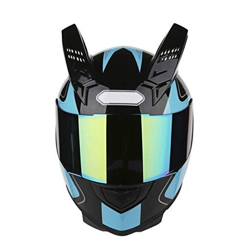 OUTO Abnehmbare Helm Motorrad Outdoor Reiten Bunte Anti-Fog-Spiegel Integralhelm Schwarz Red Devil Horn (Farbe : Light Blue Devil, größe : XL) Blue Fox Bluetooth