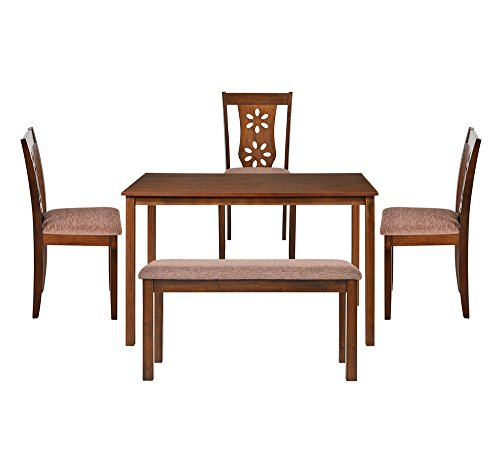 @home by Nilkamal FIDSSUTLEJKIT3CBAC Four Seater Dining Table Set (Beige)