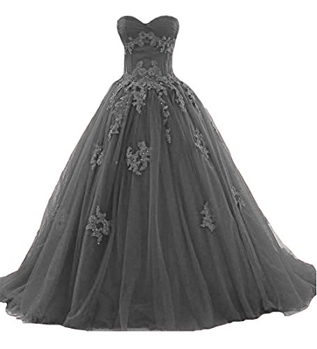 O.D.W Frauen Appliques Spitze Vintage Hochzeitskleider Formales Lange Gotisch Brautkleider(Grau, 34)