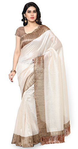 Rajnandini Women's Tussar Art Silk Saree (Joplnb3002, Off White, Free Size)