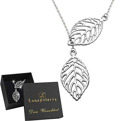 Lunapolaris® - Zarte Schmuck Halskette - Duo Silber Blatt ┃ Symbolisiert Wachstum und Erneuerung ┃ mit Deiner GRATIS  Wunsch Gravur  - Zarte Duo
