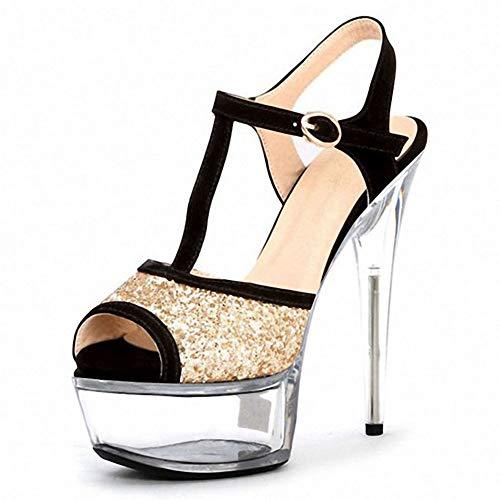 Women es Zonenschuhe, Crystal Super High Heels Korean Sequins Hollow T-Shaped Straps Super High Heel Fish Sandals Fashion Women ' S Shoes (Hollow 8 Strap)