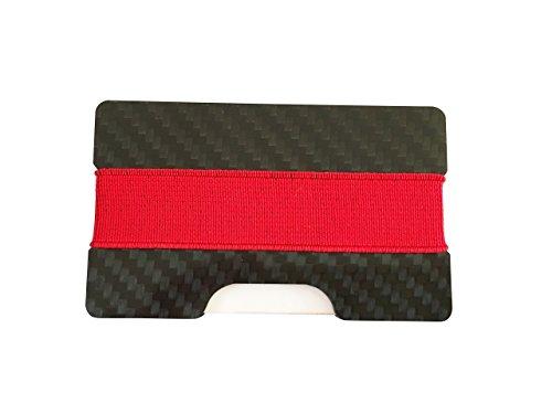 Kreditkartenetui mit RFID Blocker aus Carbonfaser für bis zu 12 Karten | Kompakter Kreditkartenhalter | Kartenhalter für Kreditkarten | Portmonnaie mit Geldklammer | Geldklammer (Schwarz)
