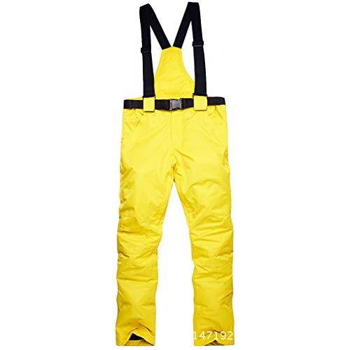 Sunbaby Skihose - Wasserabweisende Hose, verstellbare Taille, abnehmbare Zahnspange Ski-Outfit - ideale Skibekleidung für Damen/Herren (Gelb, XXL)